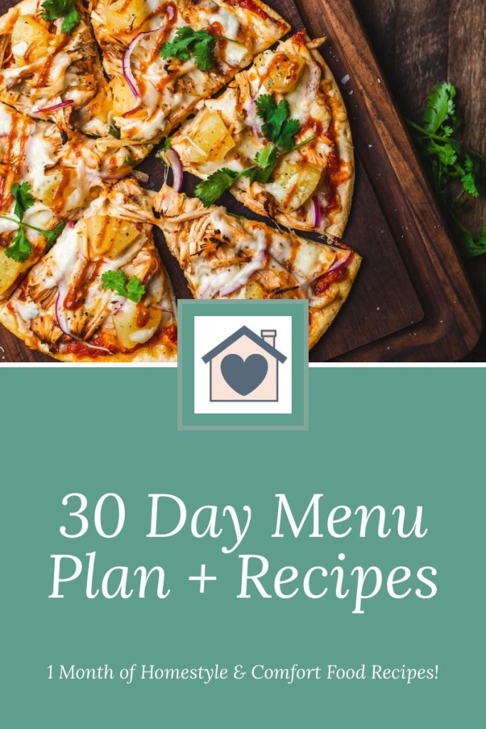 30 Day Menu Plan with Recipes Included