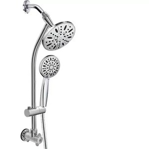 """AquaDance 3370 28"""" Drill-Free Stainless Steel Slide Bar Combo Rain Showerhead 6-Setting Hand Revolutionary Low 3-Way Diverter for Easy Reach, Dual Shower Head Spa System-Chrome Finish"""