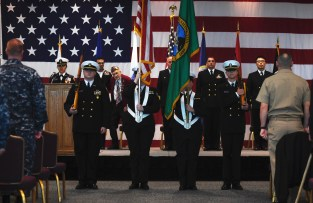 EVERETT, Wash. (Nov. 9, 2016) Marysville Navy Junior Reserve Officer Training Corps parade the colors during the annual Naval Station Everett Veterans Day ceremony in the Grand Vista Ballroom. The event honors veterans, past and present, who served in the United States Armed Forces. (U.S. Navy photo by Petty Officer 3rd Class Joseph Montemarano/Released)