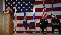 EVERETT, Wash. (Nov. 9, 2016) World War II veteran and Army Cpl. (ret.) Leonard Martin, guest of honor, speaks about his time as a POW, during the annual Veterans Day ceremony in the Grand Vista Ballroom. The event honors veterans, past and present, who served in the United States Armed Forces. (U.S. Navy photo by Petty Officer 3rd Class Joseph Montemarano/Released)