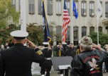 EVERETT, Wash. (Nov. 11, 2016) Service members and civilians salute the colors during the annual Snohomish County Courthouse Eternal Flame Memorial Veteran's Day ceremony in Everett. The ceremony began in 1972 when the Evergreen Chapter American Gold Star Mothers, Inc. dedicated the eternal flame to the veterans of Snohomish County. (U.S. Navy photo by Petty Officer 3rd Class Joseph Montemarano/Released)