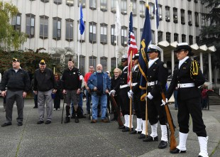 EVERETT, Wash. (Nov. 11, 2016) Everett School District Navy Junior Reserve Officers' Training Corps presents the colors during the annual Snohomish County Courthouse Eternal Flame Memorial Veteran's Day ceremony in Everett. The ceremony began in 1972 when the Evergreen Chapter American Gold Star Mothers, Inc. dedicated the eternal flame to the veterans of Snohomish County. (U.S. Navy photo by Petty Officer 3rd Class Joseph Montemarano/Released)