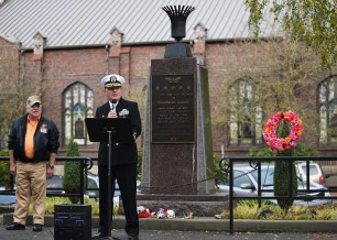 EVERETT, Wash. (Nov. 11, 2016) Capt. Mark A. Lakamp, Naval Station Everett's commanding officer, speaks during the annual Snohomish County Courthouse Eternal Flame Memorial Veteran's Day ceremony in Everett. The ceremony began in 1972 when the Evergreen Chapter American Gold Star Mothers, Inc. dedicated the eternal flame to the veterans of Snohomish County. (U.S. Navy photo by Petty Officer 3rd Class Joseph Montemarano/Released)