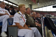 170610-N- HM829-011 PORTLAND, Ore. (June 10, 2017) Vice Adm. Nora Tyson, commander of U.S. 3rd Fleet, watches the Grand Floral Parade held at Veterans Memorial Coliseum during Portland Rose Festival Fleet Week 2017. The festival and Portland Fleet Week are a celebration of the sea services with Sailors, Marines, and Coast Guard members from the U.S. and Canada making the city a port of call. (U.S. Navy photo by Mass Communication Specialist 2nd Class K. Cecelia Engrums/Released)