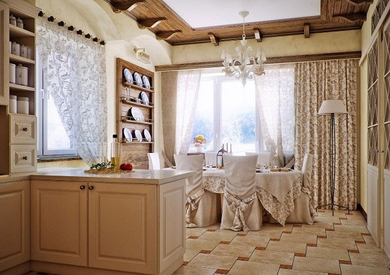 Cream Country Style Kitchen Dining Room