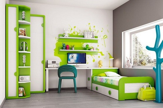 white & green kids modern bedroom furniture | home interiors