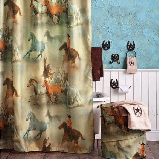 Using Western Shower Curtains To Bring Old Style Bathroom Decoration Home Interiors