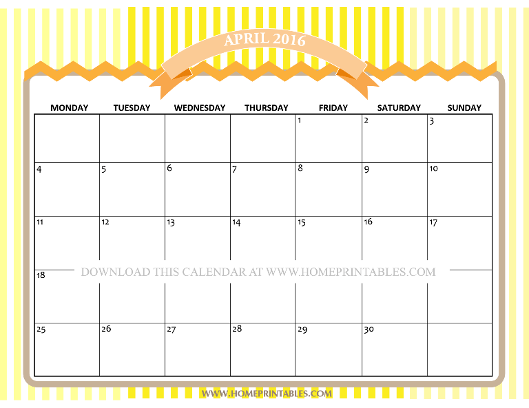 free printable April 2016 calendar via home printables yellow background