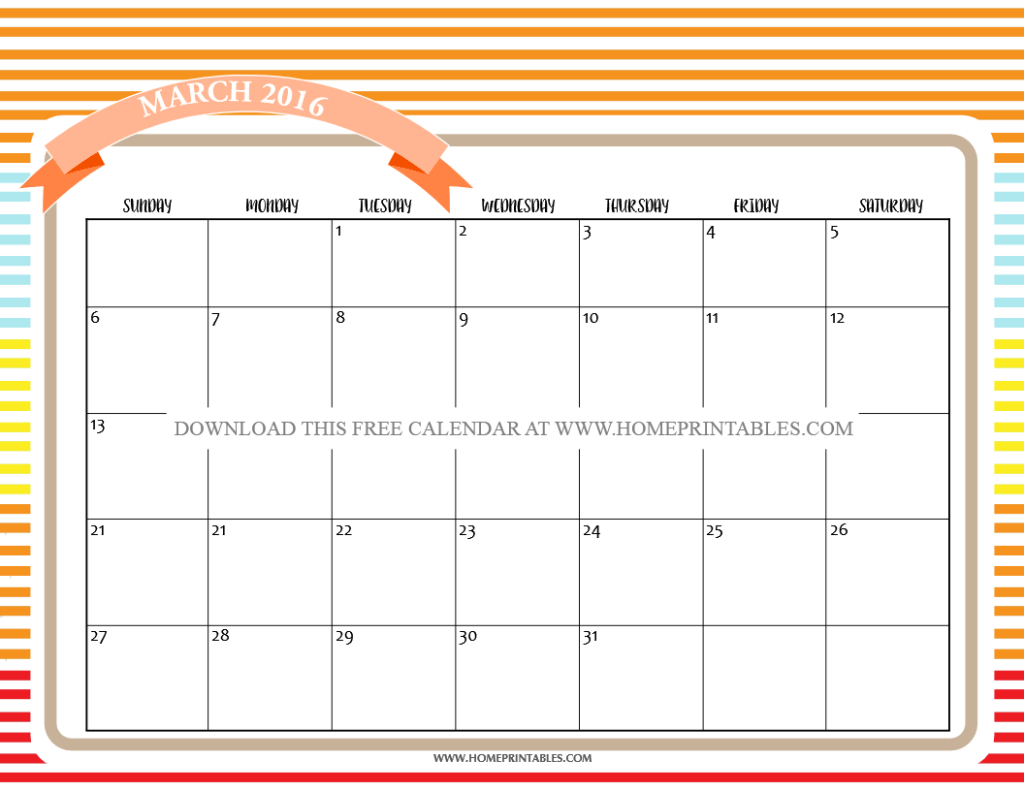 ENJOY Your Free Printable March 2016 Calendars!