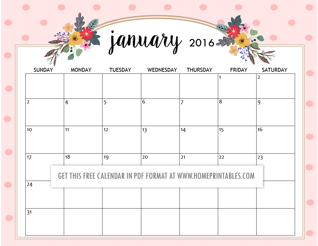 photograph relating to Cute Calendars referred to as Adorable Totally free Printable 2016 Calendars - Residence Printables