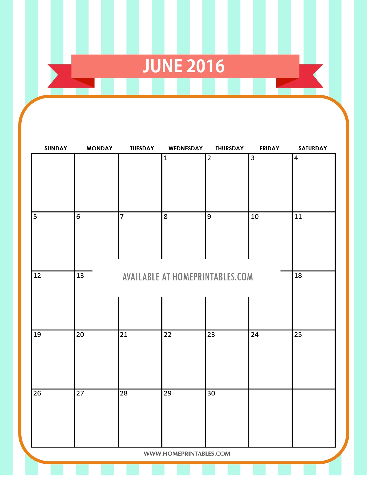 cute free printable June 2016 calendar