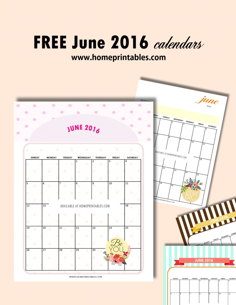 Cute Free Printable Calendars for June 2016