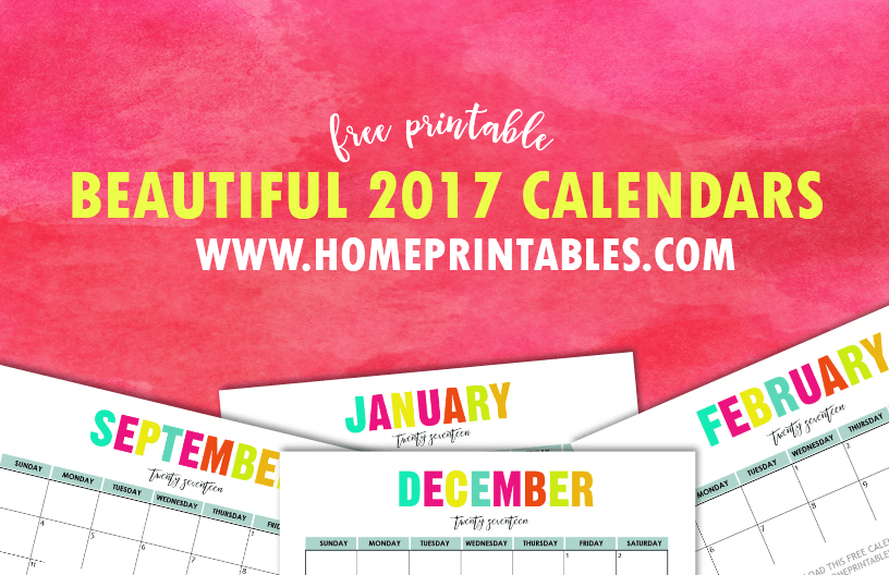 Free Printable 2017 Calendars: Bright and Beautiful!