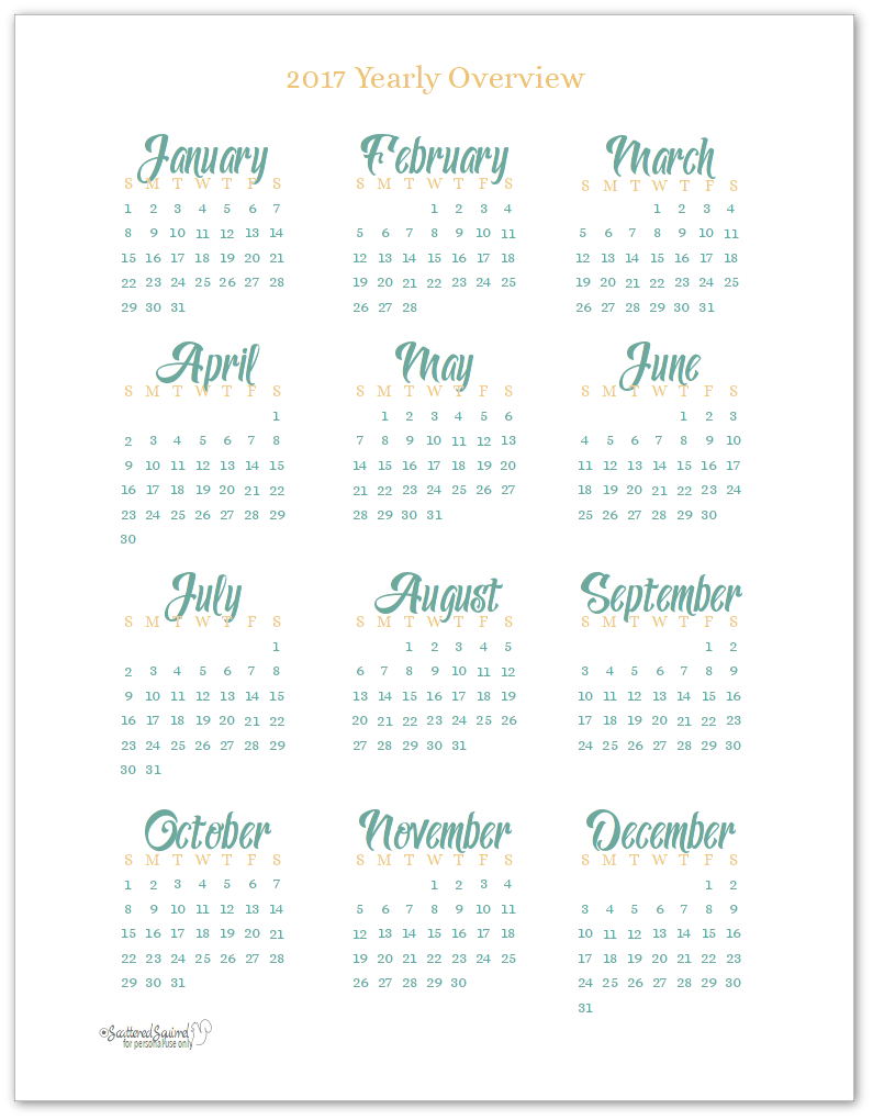 Best FREE 2017 Year at a Glance Calendars! - Home Printables