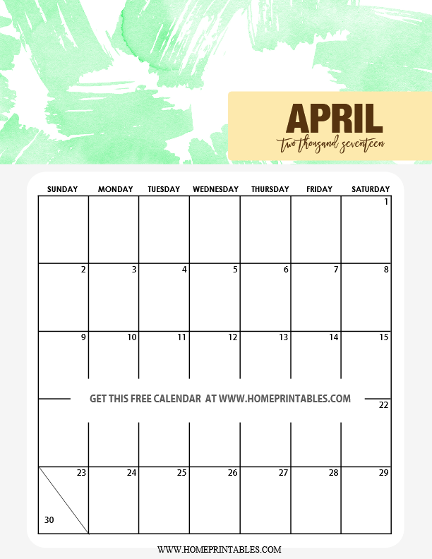 April Calendar Cute : Cute calendar printable watercolor background