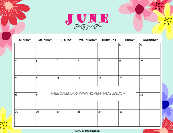 photo regarding Fun Printable Calendar called June 2017 Calendar Printable: 8 Enjoyment and Charming Strategies