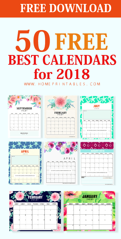 picture about Free Printable Calendar for Kids known as Greatest 50 Printable Calendar 2018 for Cost-free Obtain! - Dwelling