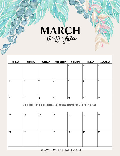 Daily Calendar March 2018 : March calendar free printable planners home