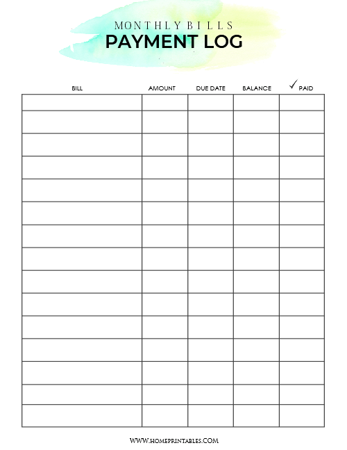 Calendar Monthly Rent : Download your free bill payment organizer home printables