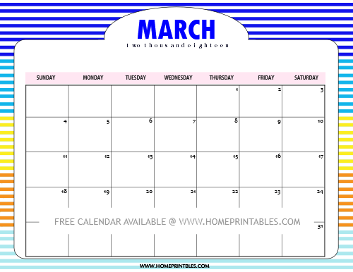 march 2018 calendar in watercolor background
