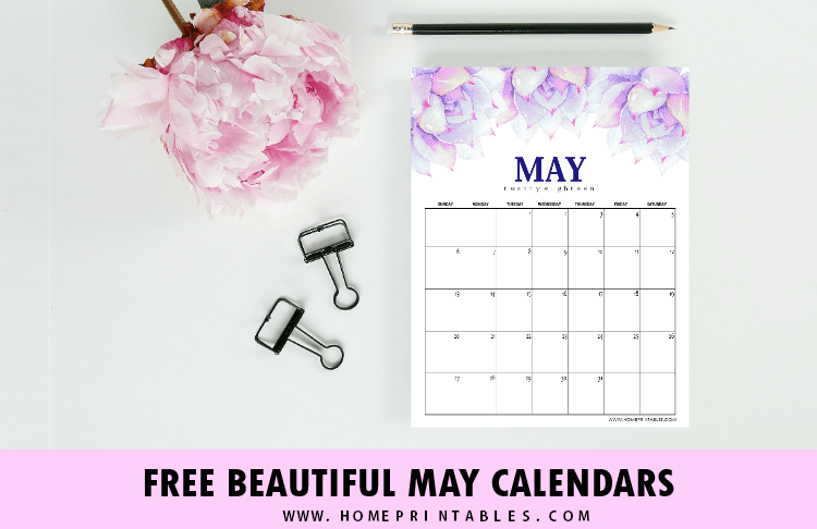 Free Printable May 2018 Calendar: Pretty Designs to Print!