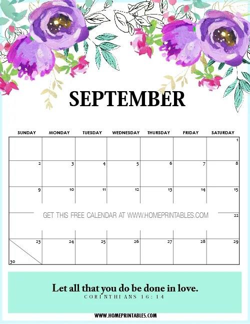 September calendar printables