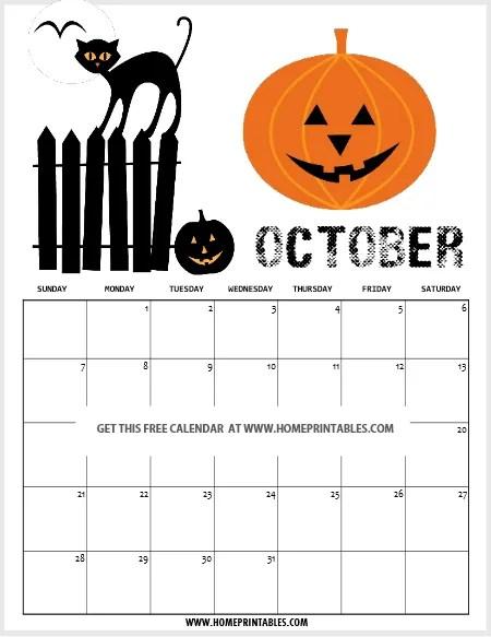 Halloween calendar 2018