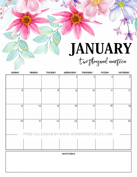 graphic regarding Cute Free Printable Calendars called January 2019 Calendar: 10 Lovable No cost Printables for Yourself!