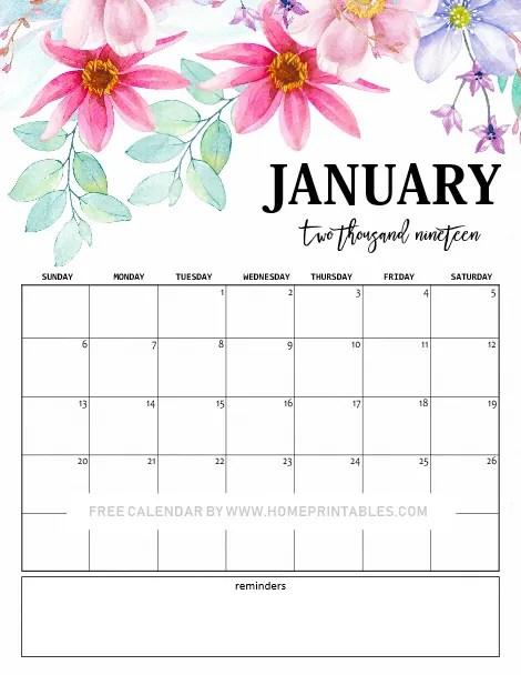 January 2019 Calendar 10 Cute Free Printables For You