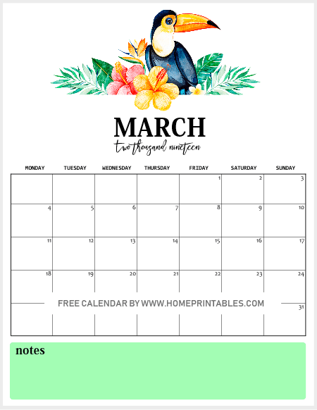 Free Printable Monthly Calendar 2019 In Vibrant Tropical Forest Theme