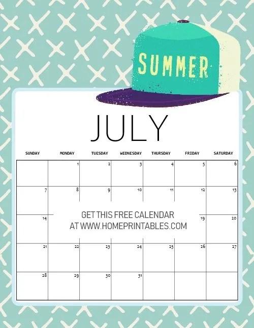 cute free printable July 2019 calendar