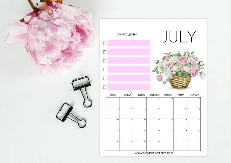 free printable July 2019 calendar