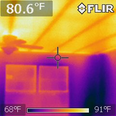 Missing ceiling insulation observed during warm weather