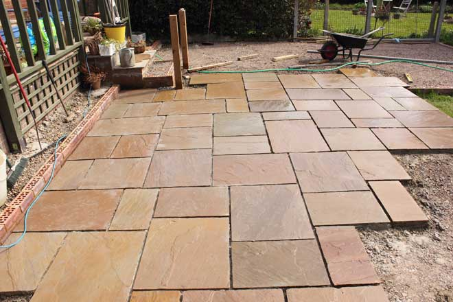 Natural Stone Patio Under Construction