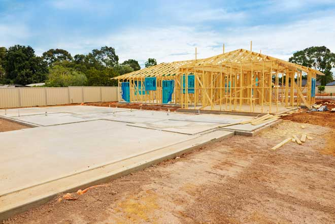 Concrete Slab Foundation and Home Framing