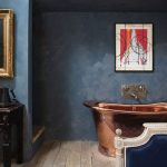 Blue Bedroom With Copper Freestanding Bath Homes Interiors Scotland