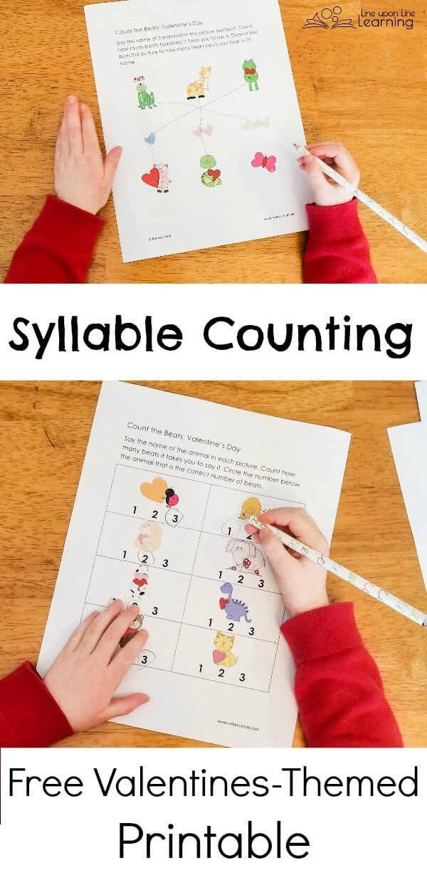 """Practice counting the """"beats"""" in each animal's name with this FREE Valentine's Themed counting syllables practice set. Perfect for kindergarten early readers!"""