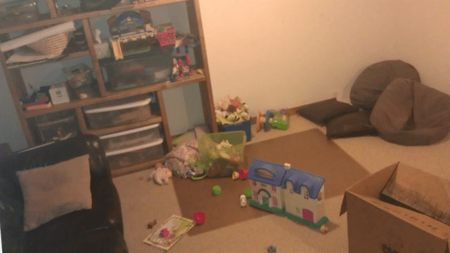 Our basement playroom is very cozy.