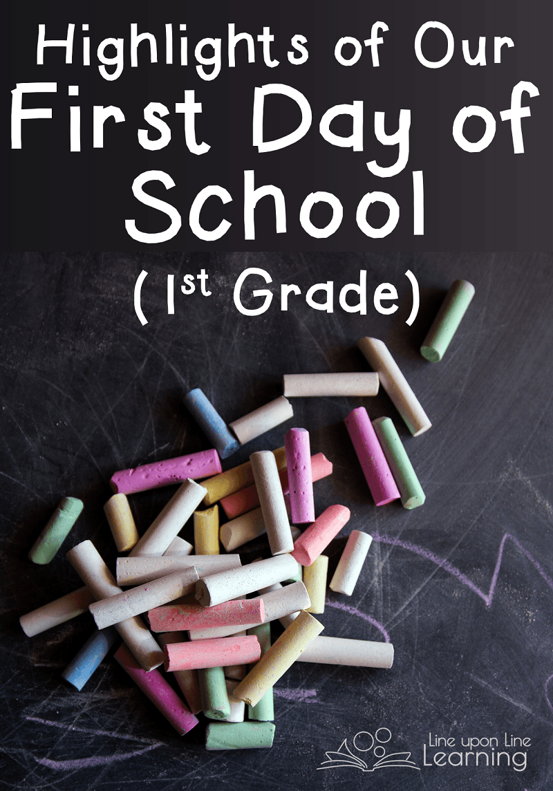 Although we don't wait for a school bus, here are some of the highlights of our homeschool's first day of school (first grade). We're making memories and building traditions each year!