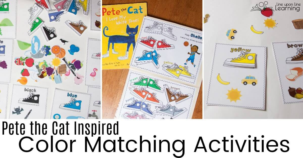 Practice sorting or matching color matching colors with Pete the Cat! These simple toddler sorts are a great start for color recognition practice.