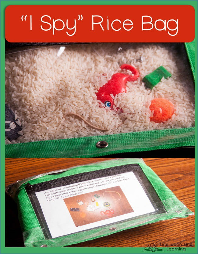"""Use rice and old toys or trinkets to make an """"I Spy"""" bag! Perfect for waiting rooms and quiet time."""