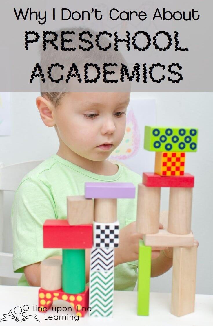 I Don't Care about Preschool Academics