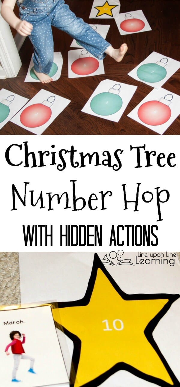 A Christmas Tree Number Hop is a fun preschool gross motor activity to get kids MOVING while practicing number recognition.