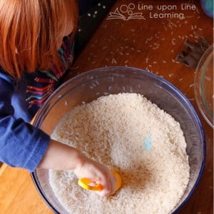 This easy indoor excavation activity will have kids digging for familiar items in a bowl of rice. --Line upon Line Learning blog