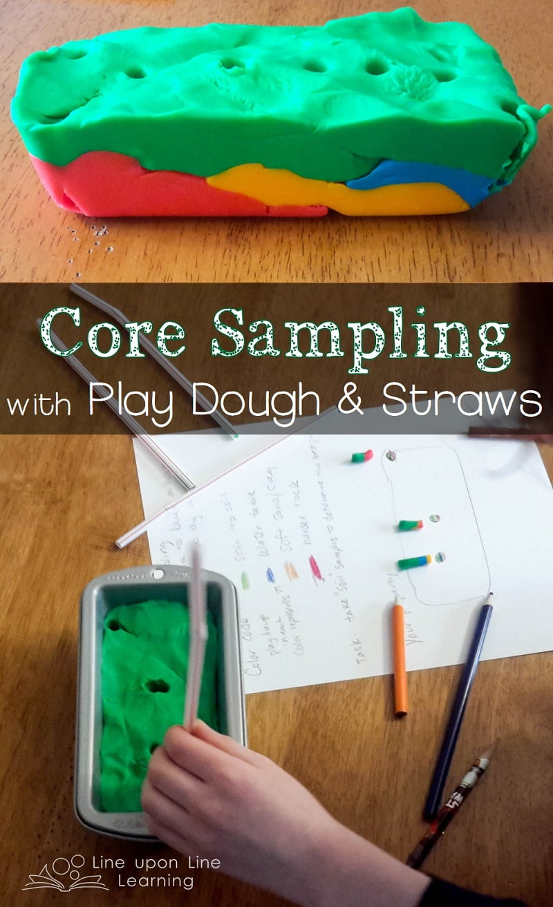 """I gave him a rectangle of property. Each play dough color represents a type of soil or rock. Where should he build a house? Where should he dig a well? He must use """"core sampling"""" to determine the answers."""