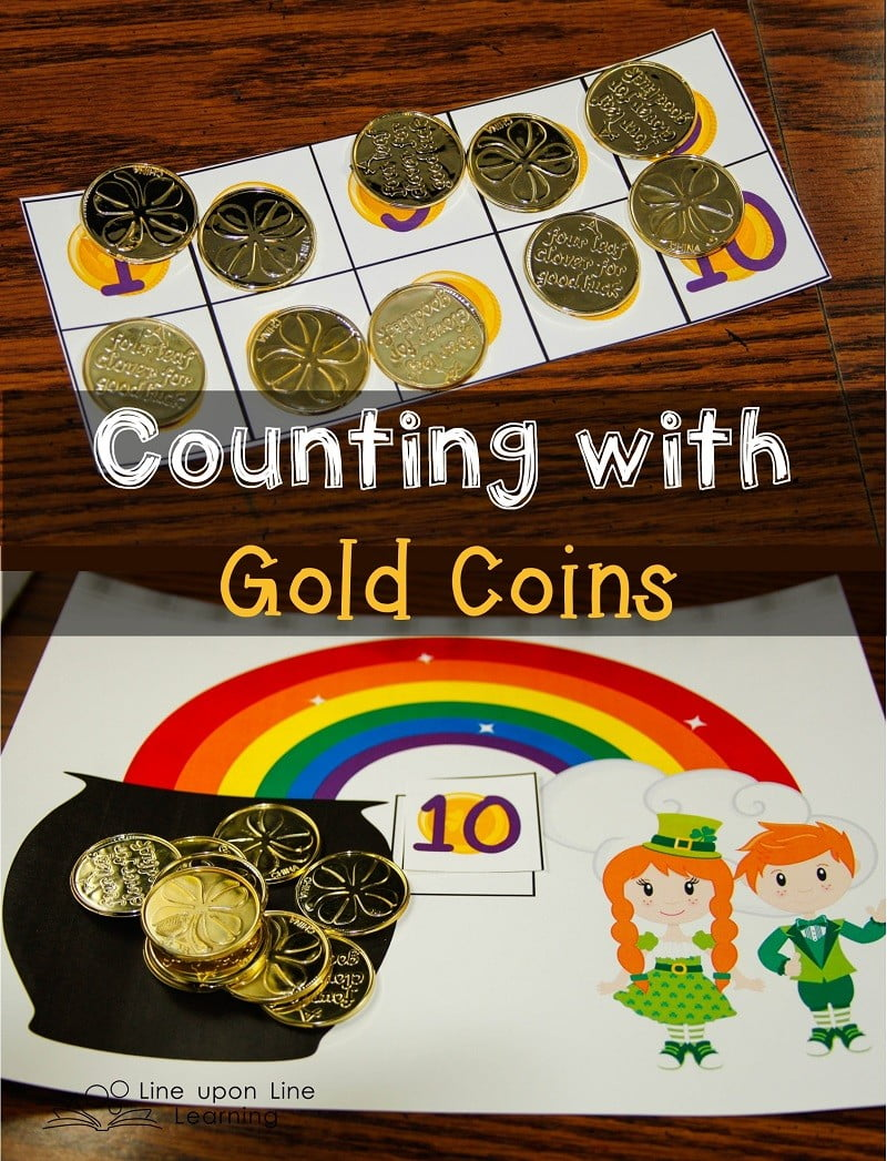 With our gold coins and activity mats, we practice understanding basic number concepts: counting in order, one-on-one correspondence, and number and numeral recognition.