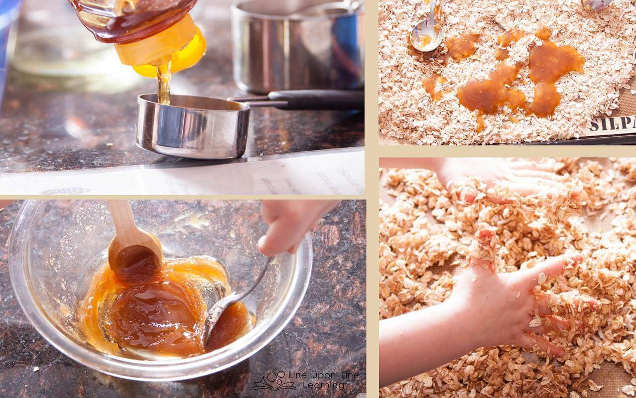 The best part of the kid-friendly granola recipe is when we mix the wet sugar and honey into the oats and coconut! It requires clean hands to mix it together. Both kids love this part!