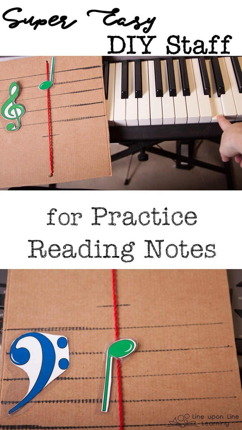 We practice reading notes by using our simple homemade staff notes slider.