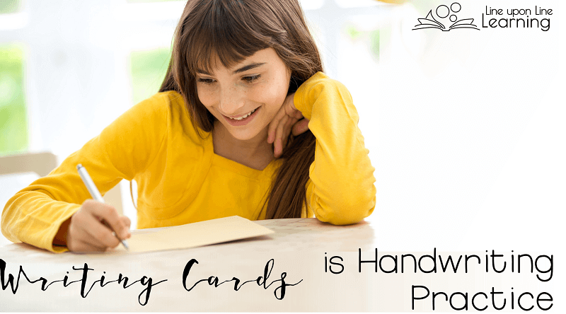Writing cards to family and friends is a great way to get handwriting practice.