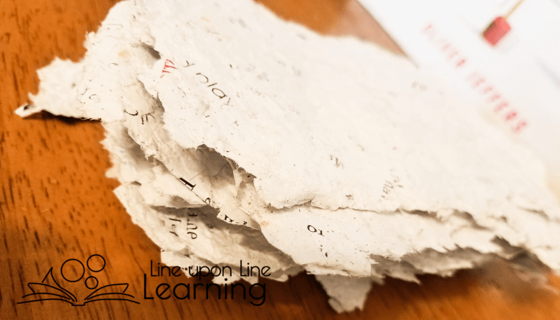 Our recycled paper is not as smooth or uniformly white as store-bought paper. It has personality. But recycling paper ourselves was fun and taught us about the recycling process.